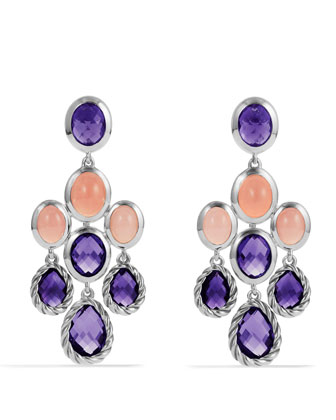 Color Classics Chandelier Earrings with Amethyst and Guava Quartz