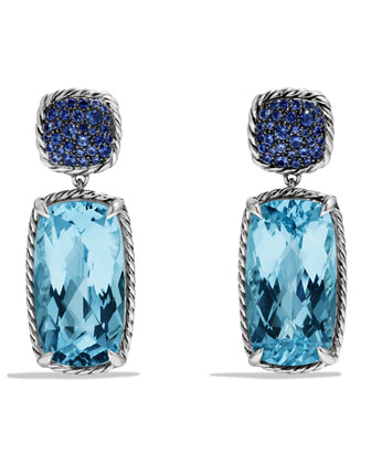 Chatelaine Drop Earrings with Blue Topaz and Blue Sapphires