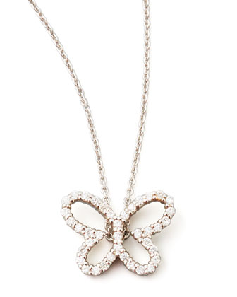 18k White Gold Diamond Butterfly Pendant Necklace