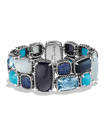 Mosaic Bracelet with Black Orchid and Turquoise