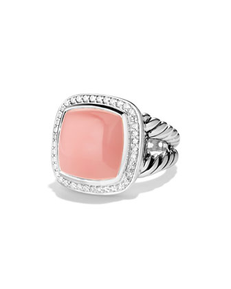 Albion Ring with Guava Quartz and Diamonds