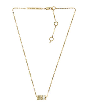 Pave Barrel Pendant Necklace, Golden