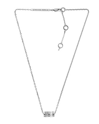 Pave Barrel Pendant Necklace, Silver Color