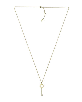 Pave-Key Pendant Necklace, Golden
