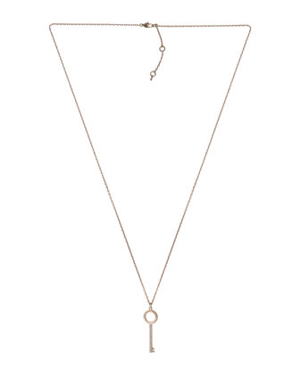 Pave-Key Pendant Necklace, Rose Golden