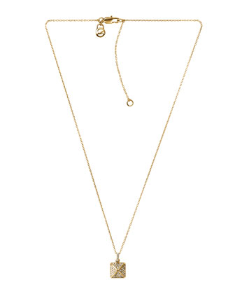 Pave-Pyramid Pendant Necklace, Golden