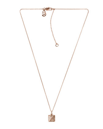 Pave-Pyramid Pendant Necklace, Rose Golden