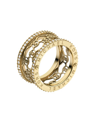 Monogram-Cutout Pave Ring, Golden