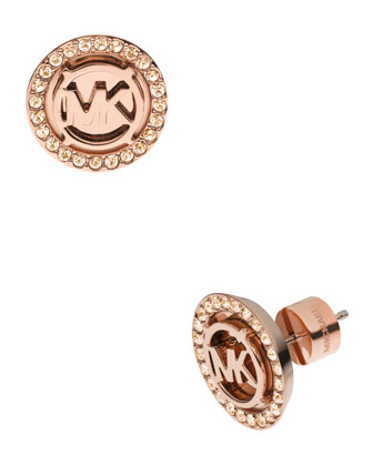 Logo Pave Stud Earrings, Rose Golden
