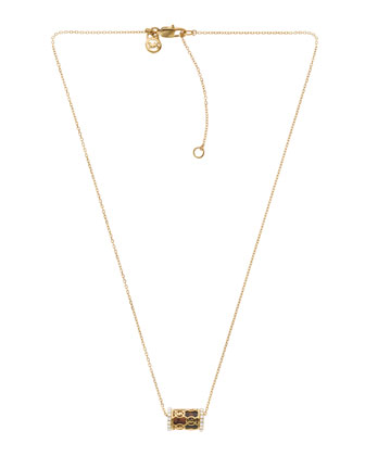 Monogram Pave Barrel Necklace, Golden/Tortoise