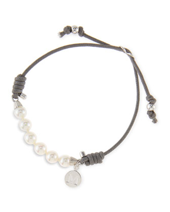 6mm White Pearl Bracelet, Gray