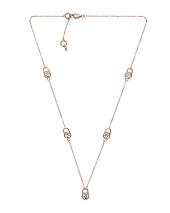 Small Lock Station Necklace, Rose Golden