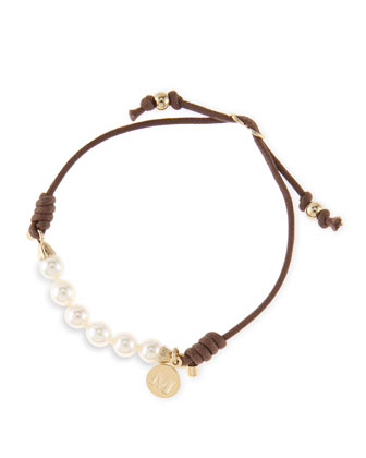 6mm White Pearl Bracelet, Brown