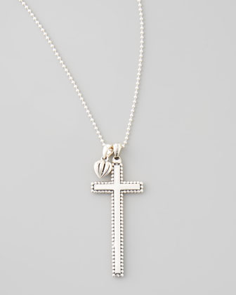 Caviar-Trim Cross & Heart Pendant Necklace