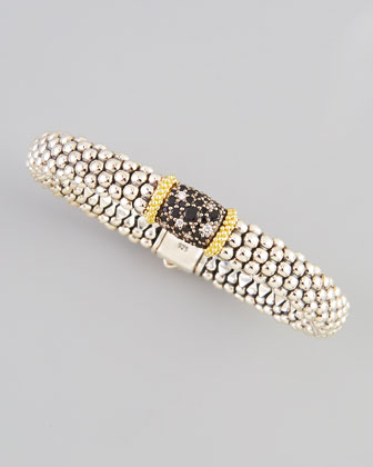 Nightfall Silver/18k Single-Station Spinel Caviar Bracelet, 9mm