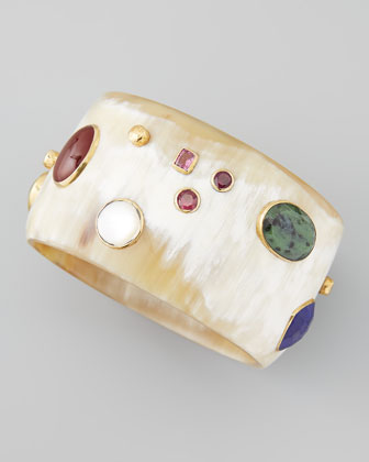 Kutona Mix-Stone Bangle, Light Horn