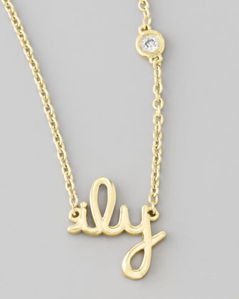 ILY Pendant Necklace with Diamond