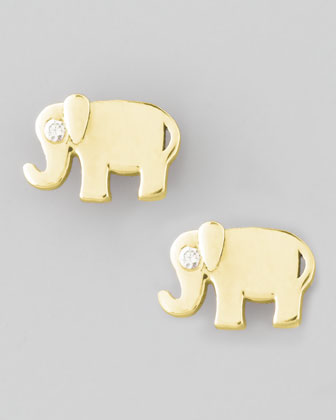 Elephant Diamond Stud Earrings