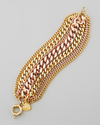 Mixed-Metal Chain Bracelet, Yellow/Rose