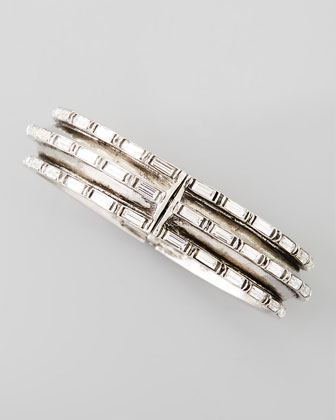Hinged Crystal-Baguette Bangle