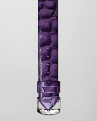 20mm Alligator-Print Strap, Purple