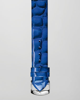 20mm Alligator-Print Strap, Blue
