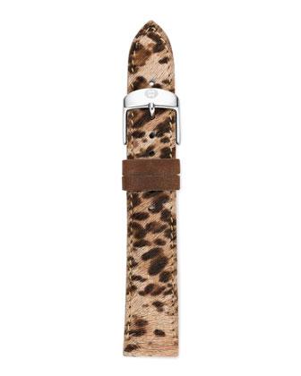 18mm Cheetah-Print Calf Hair Strap, Brown