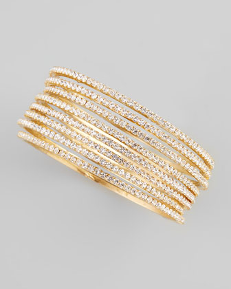 Set of Eight Thin Crystal Bangles