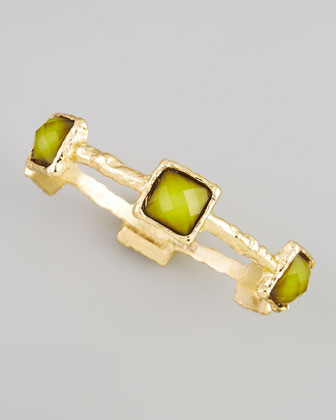 Hammered Square-Crystal Bangle, Green