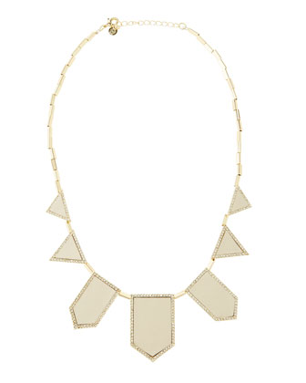 Crystal Five-Station Necklace, Cream