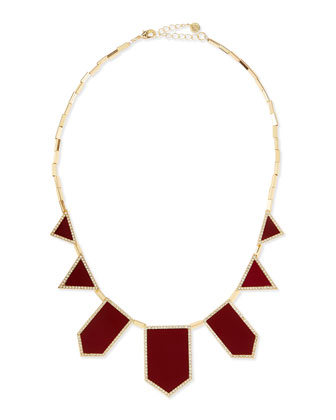 Crystal Five-Station Necklace, Cranberry