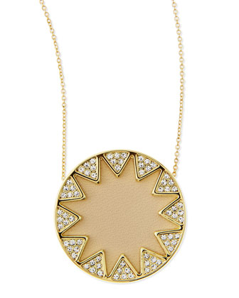 Sunburst Medium Pavé Pendant Necklace, Cream