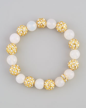 Sada Bead & Crystal Stretch Bracelet, White Agate