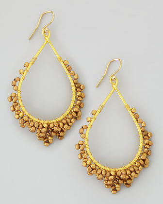 Golden Beaded-Frame Drop Earrings