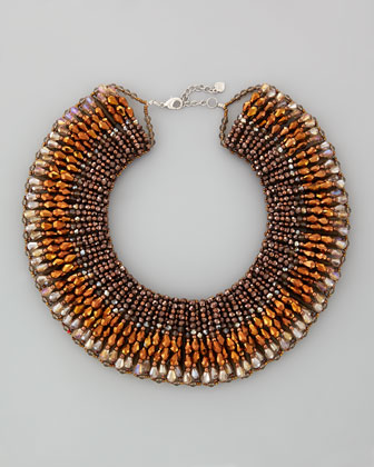 Beaded Crystal Collar Necklace, Bronze/Gray Multi