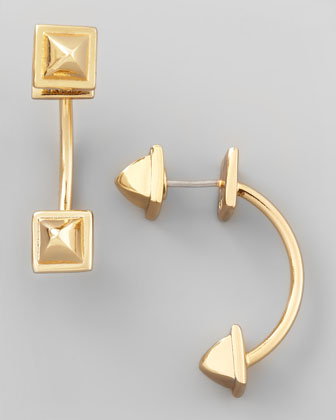 Gold-Plate Pyramid-Capped Hoop Earrings