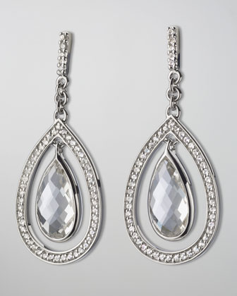 Sapphire-Trim Rock Crystal Teardrop Earrings