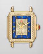 Deco Diamond Watch Head, Blue/Gold