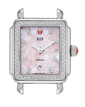Pink Deco Diamond Mosaic Stainless Steel Watch Head & 18mm Pearl Quilted ...