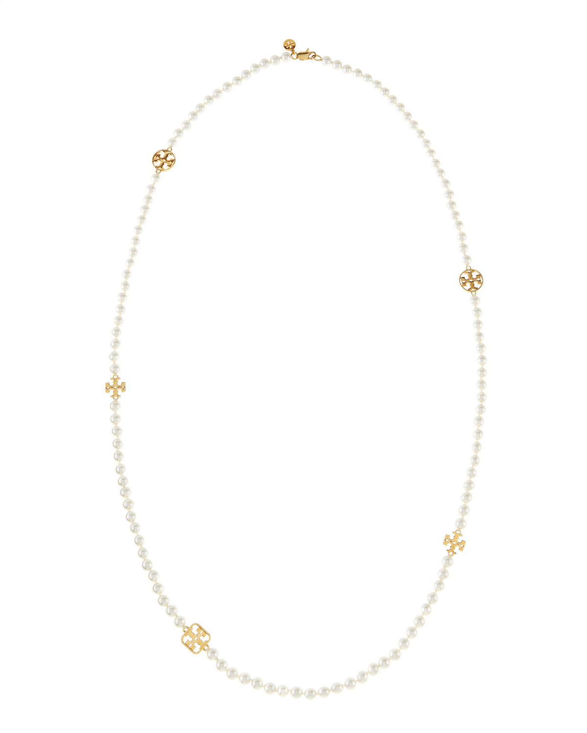 Evie Long Logo-Station Pearly Necklace - Tory Burch