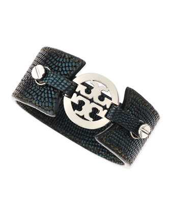 Embossed Skinny Logo Double-Snap Cuff, Navy Blue
