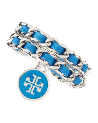 Leather Woven Chain Bracelet, Blue/Silvertone