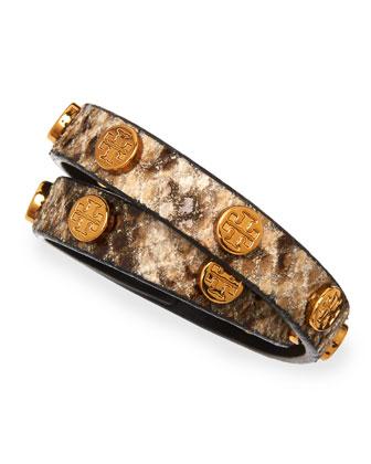 Logo-Studded Snake-Print Wrap Bracelet