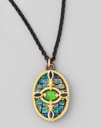 Opal Mosaic Pendant Necklace, 17