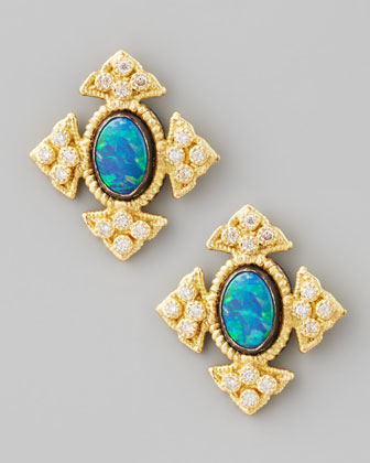 18k Gold Cravelli Cross Opal Stud Earrings
