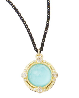 12mm Green Turquoise Midnight Pendant Necklace