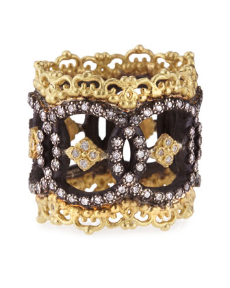 Midnight & 18k Yellow Gold Open Scalloped Ring with Diamonds