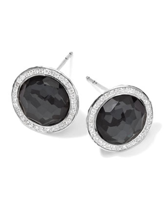 Stella Stud Earrings in Hematite Doublet with Diamonds