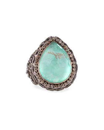 New World Large Pear Green Turquoise Ring