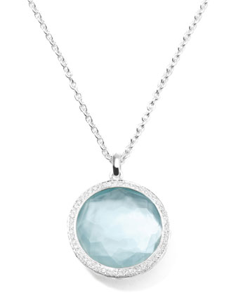 Stella Large Lollipop Necklace in Blue Topaz & Diamonds 16-18